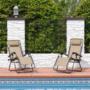 Kép 2/5 - Zéró gravitáció kerti szék ajándék pohártartóval, 2 db-bézs